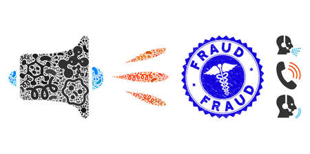 Infectious mosaic sound speaker icon and rounded rubber stamp seal with Fraud caption and medic icon.