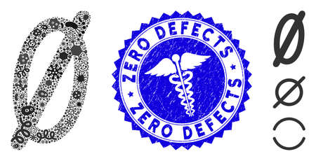 Fever collage nope icon and rounded corroded stamp seal with Zero Defects caption and medical icon. Mosaic vector is designed from nope icon and with scattered infection items. Vectores