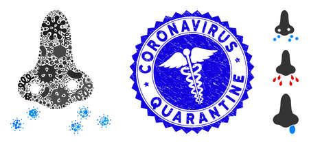 Microbe mosaic nose flu sikness icon and round corroded stamp seal with Coronavirus Quarantine text and medic icon.