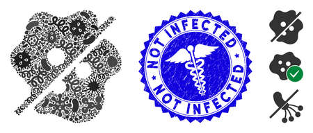 Outbreak mosaic not infected icon and rounded rubber stamp seal with Not Infected caption and caduceus symbol.