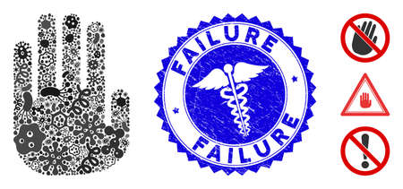 Contagious collage stop hand icon and rounded grunge stamp seal with Failure caption and medicine icon.