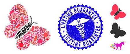 Infectious mosaic summer bird icon and rounded distressed stamp seal with Lifetime Guarantee text and caduceus sign.