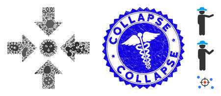 Infected mosaic meeting point icon and rounded rubber stamp seal with Collapse phrase and medic symbol. Mosaic vector is designed from meeting point icon and with scattered infection symbols.