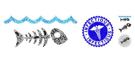 Contagious mosaic water pollution icon and rounded grunge stamp watermark with Infectious caption and healthcare sign.