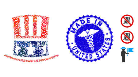 Infected collage Uncle Sam hat icon and rounded corroded stamp seal with Made in United States phrase and medic icon.