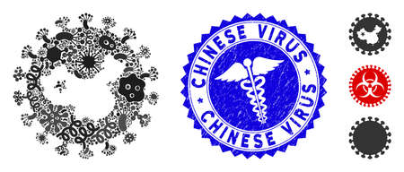 Microbe mosaic chinese virus icon and round grunge stamp seal with Chinese Virus caption and medicine icon. Mosaic vector is formed from chinese virus pictogram and with scattered viral items. Ilustração