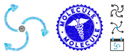 Pandemic mosaic fan rotation icon and round rubber stamp seal with Molecule text and clinic sign. Mosaic  is composed with fan rotation icon and with random microbe elements.