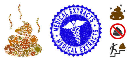 Microbe collage bad smell icon and rounded rubber stamp seal with Medical Extracts phrase and medic icon. Illustration