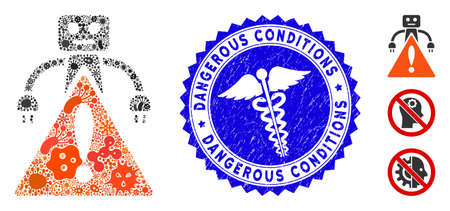 Contagious mosaic robot warning icon and rounded rubber stamp seal with Dangerous Conditions text and medicine icon. Mosaic vector is designed with robot warning icon and with randomized flu elements.