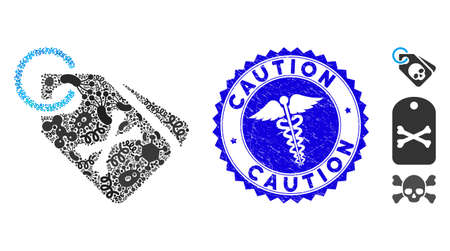 Fever mosaic death bones tags icon and rounded grunge stamp seal with Caution caption and medicine symbol.