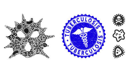 Fever collage virus structure icon and round grunge stamp watermark with Tuberculosis text and health care icon. Mosaic vector is created with virus structure icon and with scattered epidemic objects. Çizim
