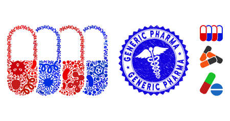 Contagion mosaic generic pharma icon and round distressed stamp watermark with Generic Pharma phrase and medic sign.
