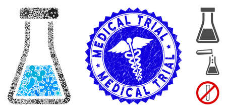 Infected mosaic flask icon and rounded grunge stamp watermark with Medical Trial text and healthcare icon.