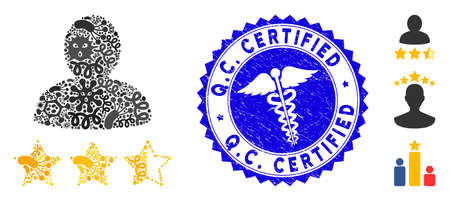 Virus mosaic person rating icon and rounded rubber stamp watermark with Q.C. Certified caption and caduceus icon.