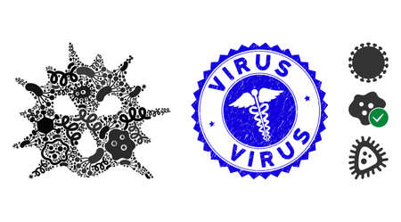Contagion mosaic virus icon and round corroded stamp seal with Virus text and healthcare icon.