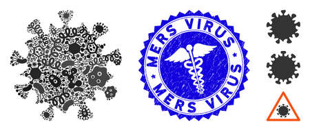 Contagious mosaic MERS virus icon and rounded grunge stamp seal with Mers Virus phrase and medic icon. Mosaic vector is created from MERS virus icon and with randomized bacterium icons. Illustration
