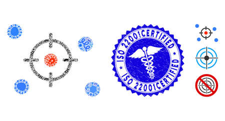 Flu collage selective icon and round corroded stamp seal with ISO 22001Certified text and medicine icon. Mosaic vector is formed from selective icon and with scattered flu elements.