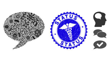 Virus mosaic balloon icon and round grunge stamp watermark with Status text and medicine icon.