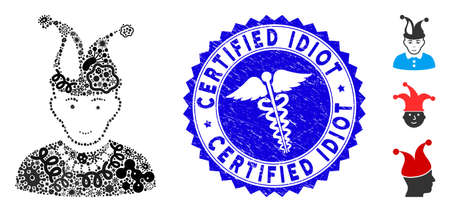 Contagious mosaic fool icon and rounded rubber stamp seal with Certified Idiot caption and healthcare icon.