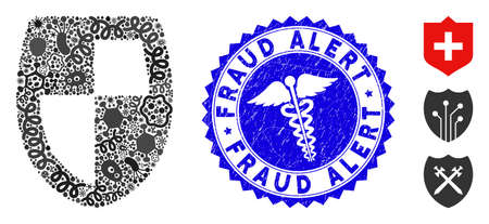 Contagious mosaic shield icon and round rubber stamp seal with Fraud Alert text and healthcare icon. Stock Illustratie