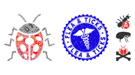 Virus mosaic ladybird bug icon and round grunge stamp seal with Flea & Ticks phrase and health care icon. Illusztráció