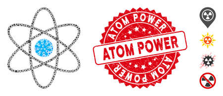 Virus mosaic atom icon and rounded corroded stamp seal with Atom Power text. Mosaic vector is designed from atom icon and with random viral elements. Atom Power stamp seal uses red color,