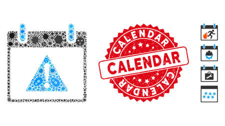 Epidemic mosaic warning calendar day icon and round grunge stamp watermark with Calendar text. Mosaic vector is formed with warning calendar day pictogram and with randomized pathogen symbols. Vectores