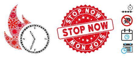 Outbreak mosaic deadline burn clock icon and rounded grunge stamp seal with Stop Now phrase. Mosaic vector is designed from deadline burn clock icon and with random microbe cell objects.