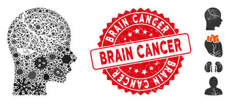 Pandemic mosaic brain carcinoma icon and round corroded stamp seal with Brain Cancer phrase. Mosaic vector is designed with brain carcinoma icon and with randomized virus elements.