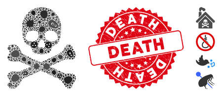 Outbreak mosaic death icon and rounded grunge stamp seal with Death phrase. Mosaic vector is created with death icon and with random pathogen items. Death stamp seal uses red color,