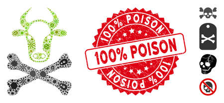 Fever mosaic cow death icon and rounded distressed stamp seal with 100% Poison phrase. Mosaic vector is composed with cow death icon and with randomized bacterium items.