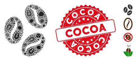Microbe mosaic cocoa beans icon and round grunge stamp seal with Cocoa phrase. Mosaic vector is created from cocoa beans icon and with scattered contagion objects. Cocoa stamp seal uses red color,