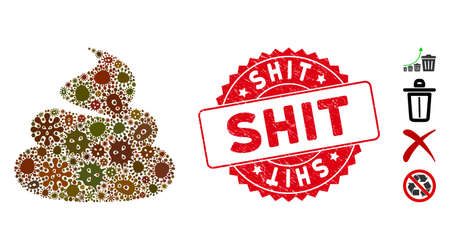 Pathogen mosaic shit icon and rounded corroded stamp seal with Shit caption. Mosaic vector is designed with shit icon and with randomized pathogen elements. Shit stamp seal uses red color,