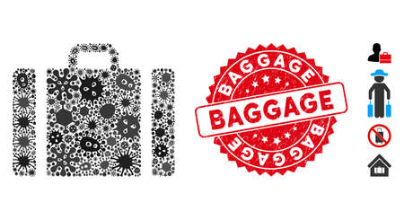 Infectious mosaic baggage icon and rounded distressed stamp watermark with Baggage phrase. Mosaic vector is designed with baggage icon and with scattered pandemic items. Baggage stamp uses red color, Vectores