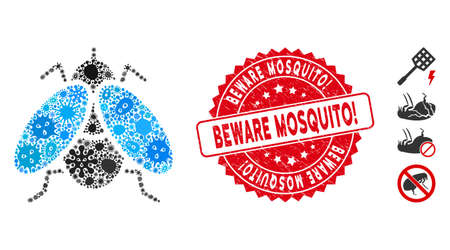 Virus mosaic fly insect icon and round distressed stamp watermark with Beware Mosquito! caption. Mosaic vector is created from fly insect pictogram and with scattered virus icons. Vectores