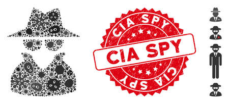 Pandemic collage spy icon and rounded grunge stamp seal with CIA Spy text. Mosaic vector is created with spy icon and with scattered contagious objects. CIA Spy stamp seal uses red color,