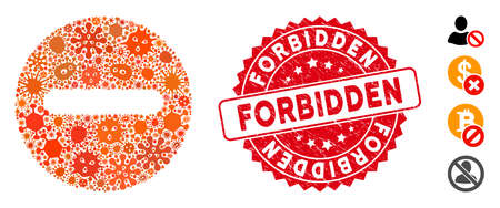 Fever mosaic forbidden icon and round rubber stamp seal with Forbidden phrase. Mosaic vector is composed with forbidden pictogram and with scattered contagious icons. Forbidden seal uses red color,