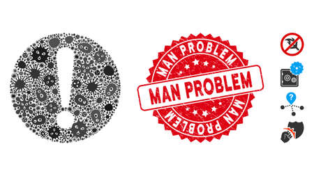 Fever mosaic problem icon and round corroded stamp watermark with Man Problem caption. Mosaic vector is formed with problem icon and with randomized microorganism icons.