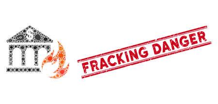 Pandemie-Mosaik-Bank-Feuer-Katastrophensymbol und roter Fracking Danger-Gummidruck zwischen doppelten parallelen Linien. Mosaikvektor wird mit Bankfeuerkatastrophensymbol und mit verstreuten Bazillusobjekten gebildet.