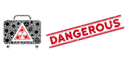 Pathogen mosaic dangerous luggage icon and red Dangerous seal between double parallel lines. Mosaic vector is designed with dangerous luggage icon and with scattered pandemic icons.