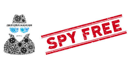 Infectious mosaic spy icon and red Spy Free stamp between double parallel lines. Mosaic vector is created from spy icon and with randomized virus elements. Spy Free stamp seal uses red color,