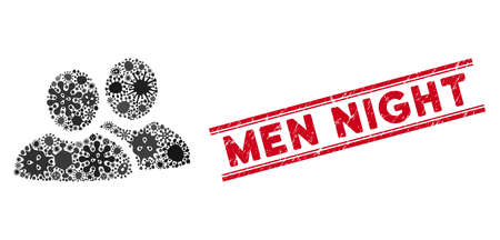 Virus mosaic men icon and red Men Night seal stamp between double parallel lines. Mosaic vector is composed with men icon and with random infectious objects. Men Night stamp seal uses red color,