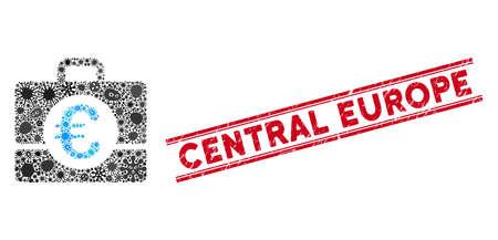 Icône de comptabilité euro mosaïque de l'épidémie et sceau rouge de l'Europe centrale entre deux lignes parallèles. Le vecteur mosaïque est formé avec l'icône de comptabilité en euros et avec des éléments de bacille aléatoires. Vecteurs