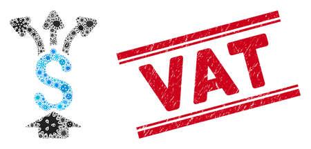 Le collage de virus partage l'icône de l'argent et le timbre de la TVA rouge entre les doubles lignes parallèles. Le vecteur mosaïque est composé d'une icône d'argent partagé et d'icônes de cellules microbiennes aléatoires. Le timbre de TVA utilise la couleur rouge, Vecteurs