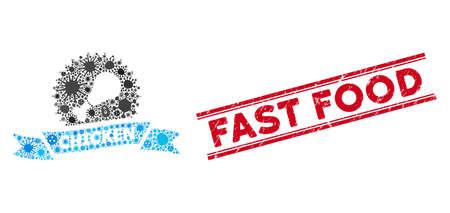 Icône de restauration rapide en mosaïque de contagion et impression en caoutchouc rouge Fast Food entre deux lignes parallèles. Le vecteur mosaïque est formé avec une icône de restauration rapide et avec des symboles d'infection aléatoires.