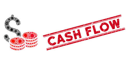 Contagious mosaic cash icon and red Cash Flow seal stamp between double parallel lines. Mosaic vector is designed with cash pictogram and with scattered contagious symbols. Illustration