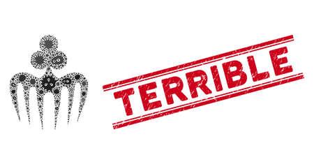Icône de monstre de spectre de jeu de mosaïque de microbe et timbre de sceau Terrible rouge entre deux lignes parallèles.