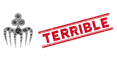 Icona del mostro dello spettro del gioco d'azzardo del mosaico del microbio e timbro rosso terribile del sigillo tra doppie linee parallele.