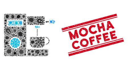 Infection mosaic coffee machine icon and red Mocha Coffee seal stamp between double parallel lines. Mosaic vector is created with coffee machine icon and with random bacillus icons.