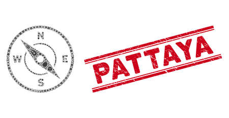 Infection collage compass icon and red Pattaya seal stamp between double parallel lines. Mosaic vector is formed from compass icon and with randomized microbe items. Pattaya stamp seal uses red color,